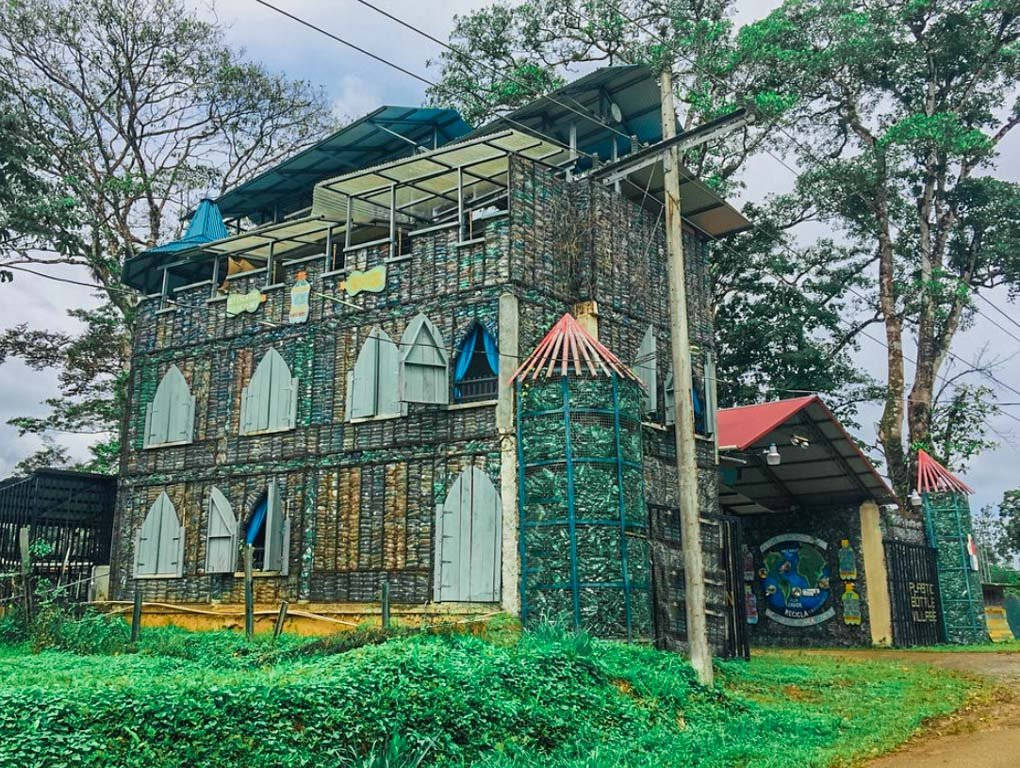 The main castle at the Plastic Bottle Village on Isla Colon, Bocas del Toro