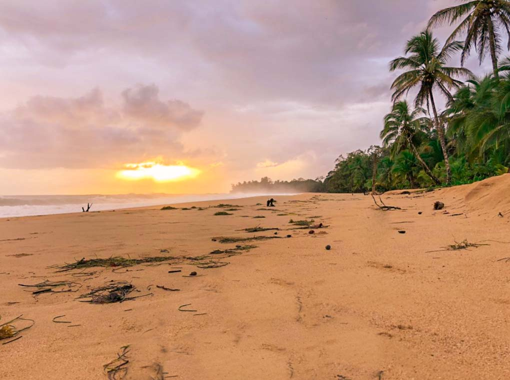 A sunset along the beach of Playa Bluff on Isla Colon, Bocas del Toro
