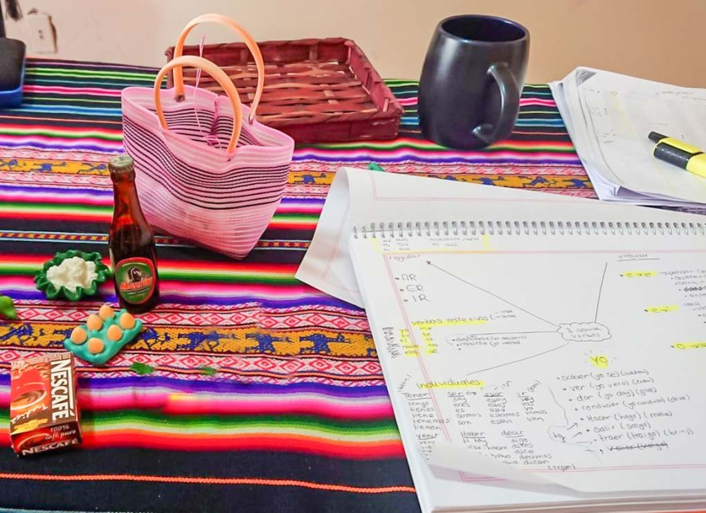 studying a spanish notebook on a mayan textile