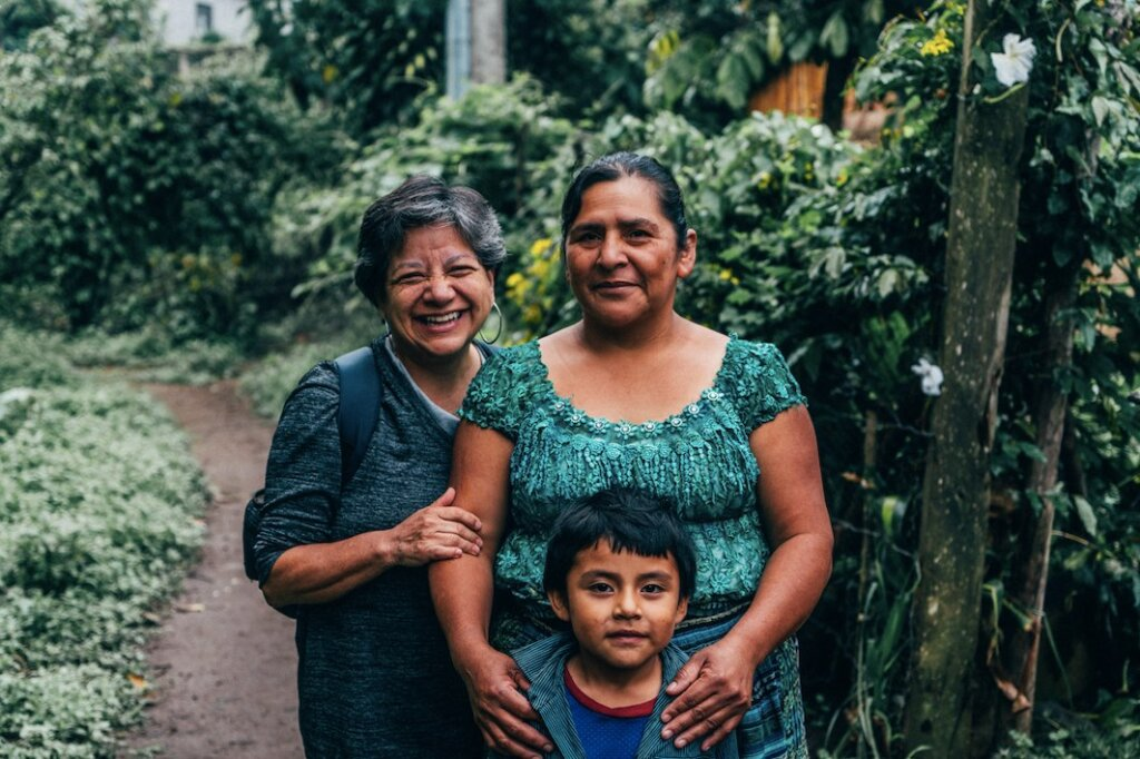 a family at a homestay by trama textiles in lake atitlan guatemala