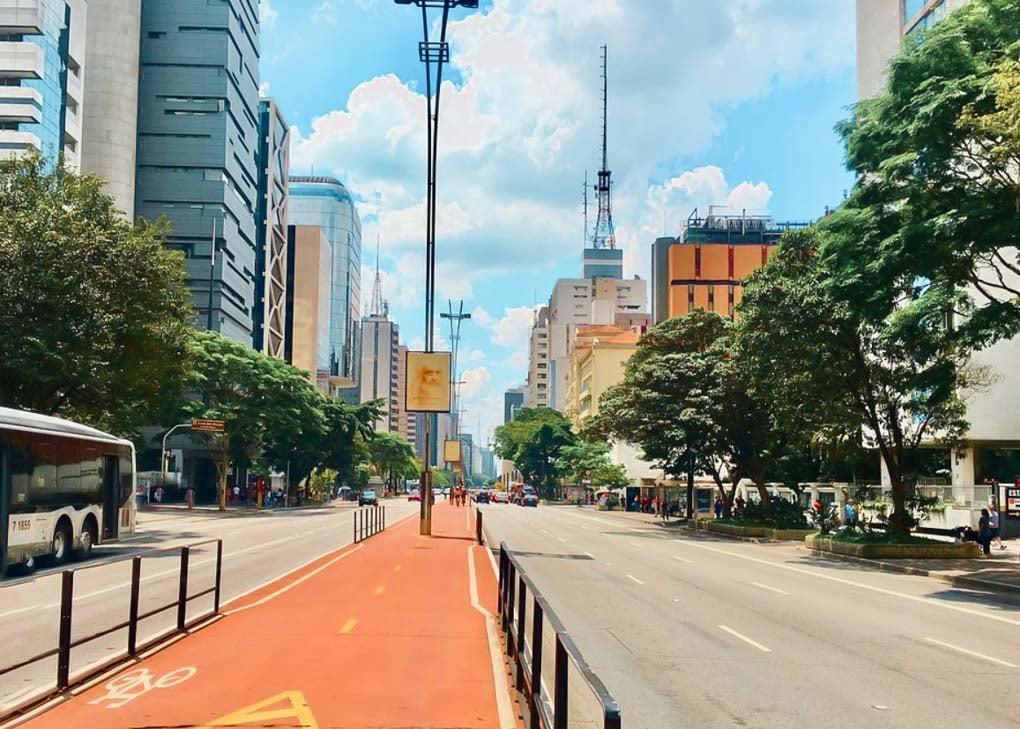 Paulista Avenue on a sunny day in Sao Paulo, Brazil
