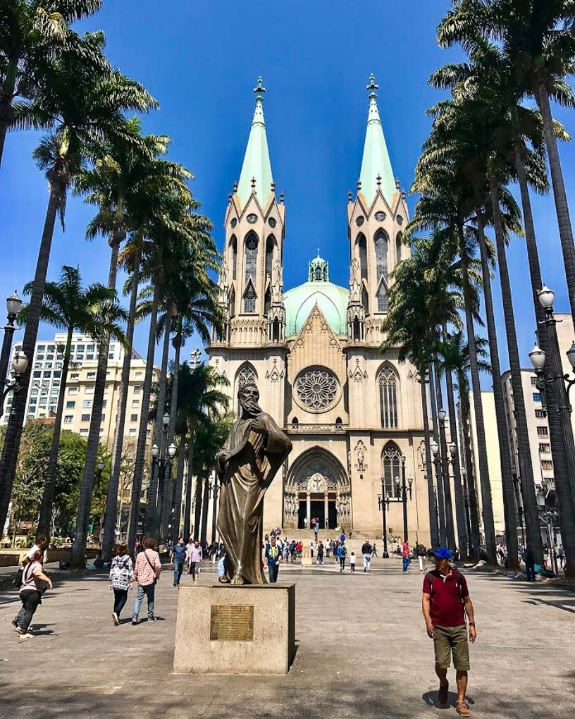 The outside of Sé Cathedral in Sao Paulo
