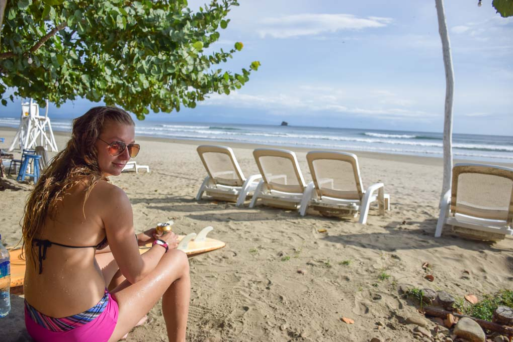 Bailey hanging out at Playa Hermosa near San Juan del Sur