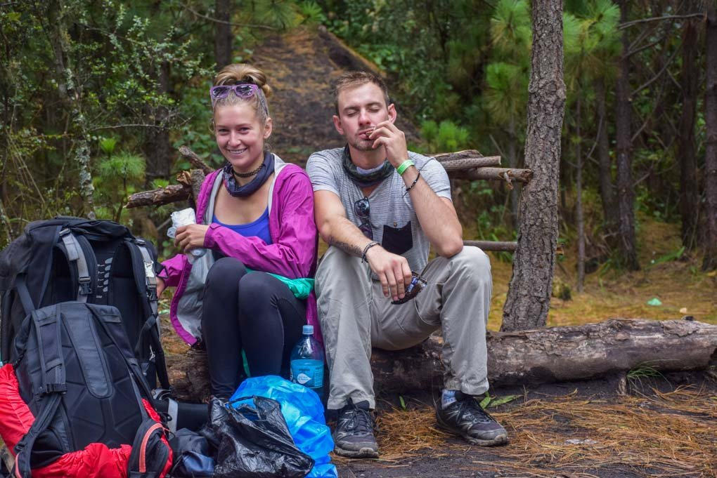 eating our packed lunch along the hike on day 1 on Acatenango Volcano