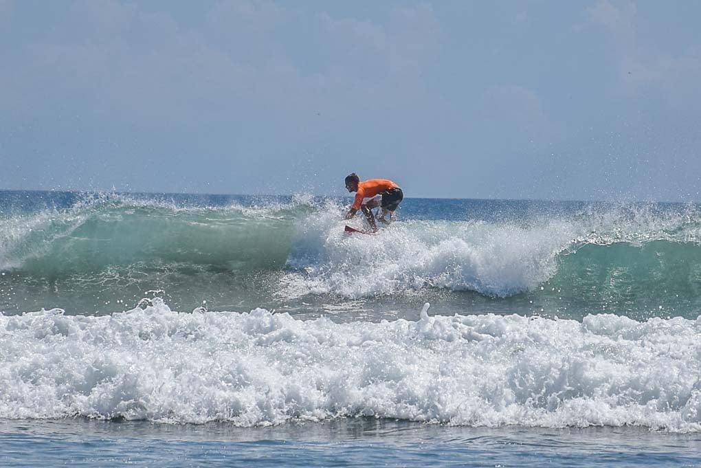 Daniel surfing in San Juan del Sur, Nicaragua