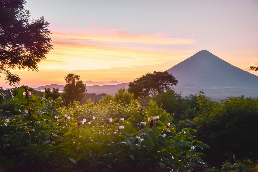 A beautiful sunset on Isla de Ometepe, Nicaragua from our hotel