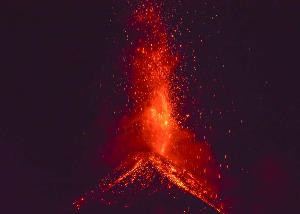 View of Fuego Volcano erupting from the Acatenango overnight volcao hike