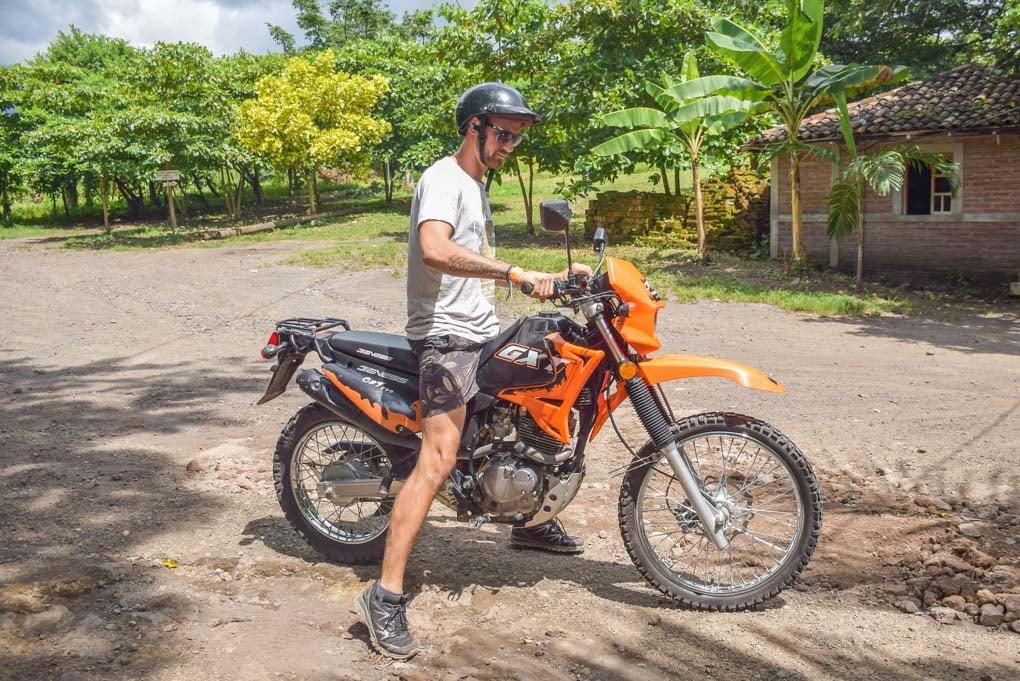Daniel on the motorbike we rented on Ometepe, Nicaragua