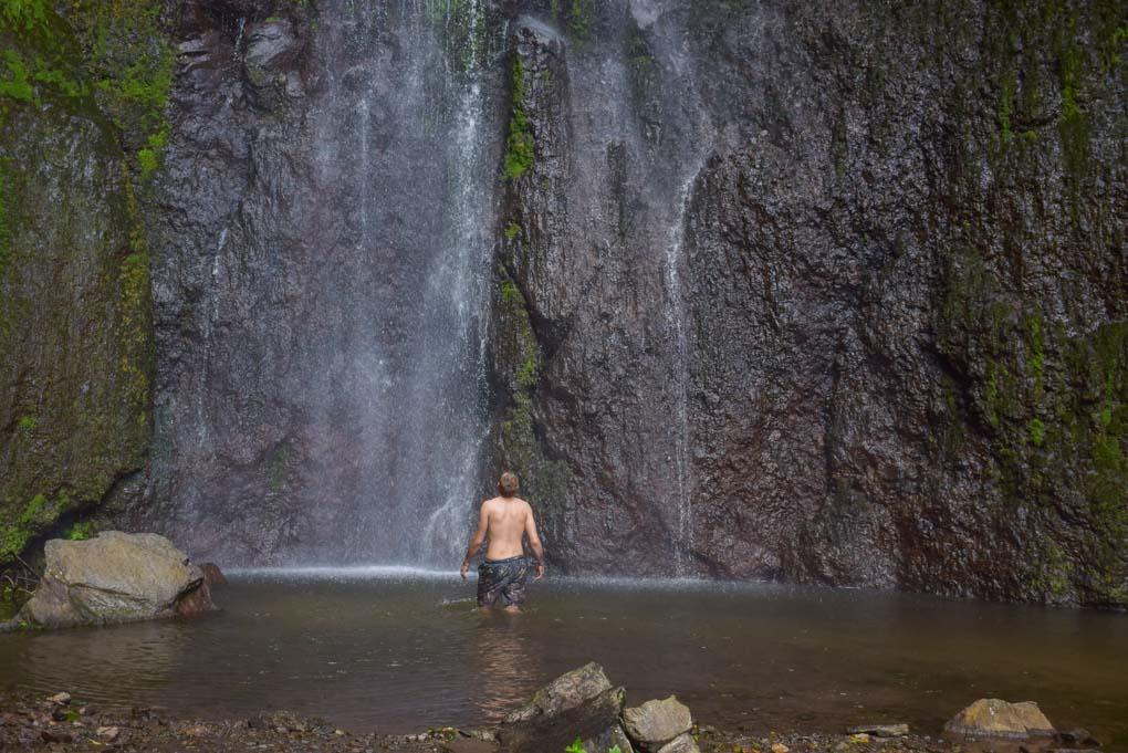 Daniel in the pool at the bottom of San Ramon waterfall, Ometepe