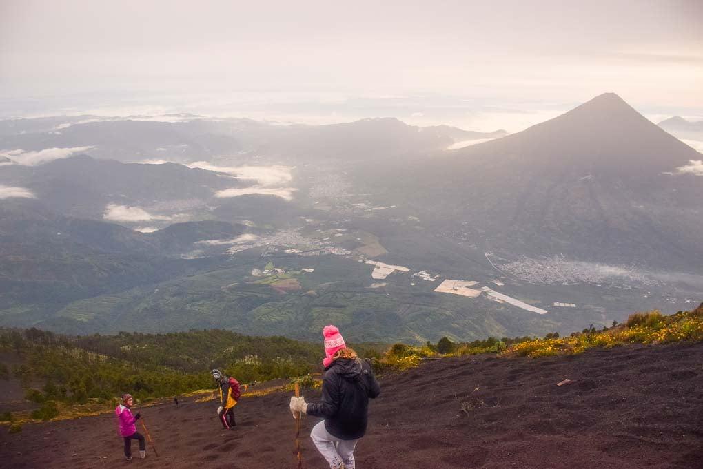hiking down Acatenango Volcano in Guatemala