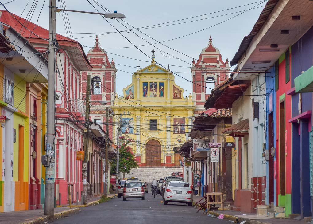view of the streets and cathedral in Leon, Nicaragua