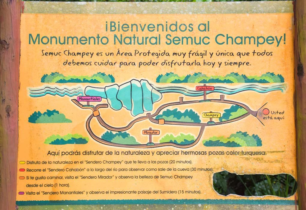 A map of the trails at Semuc Champey