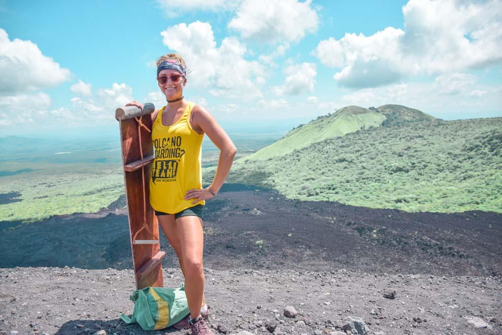 posing with my sandboard on cerro negro volcano near Leon, Nicaragua