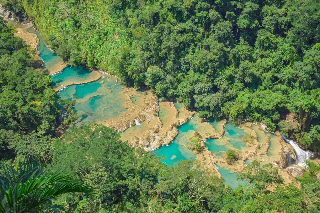 A close up of Semuc Champey from the viewpoint above.