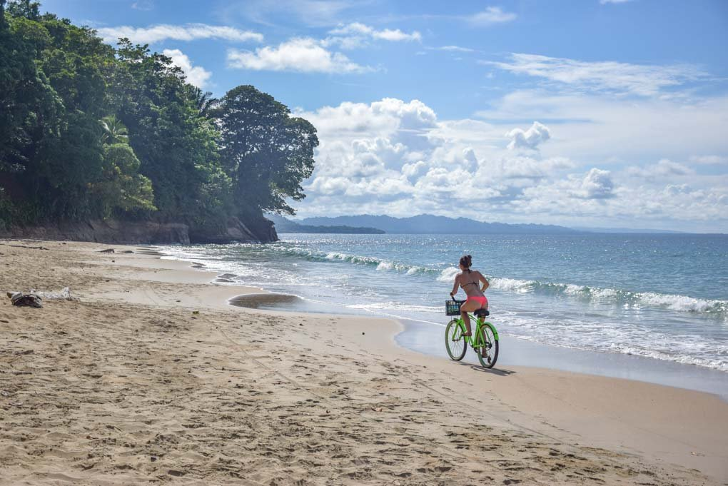 bike riding on the beach in Puerto Viejo