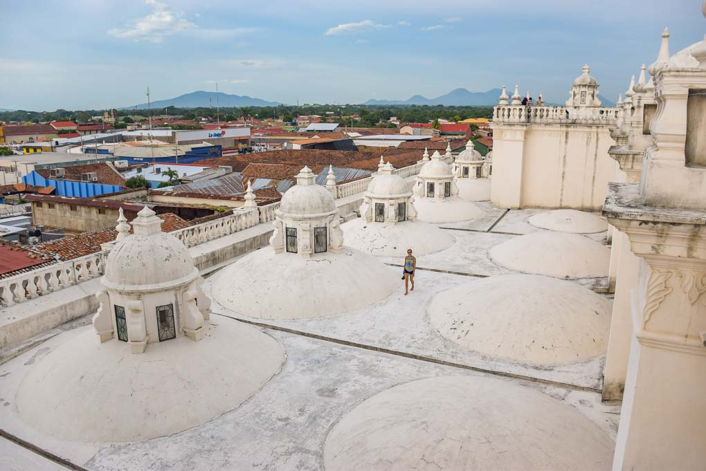 Bailey walks on the roof of the Cathedral-Basilica of the Assumption of the Blessed Virgin Mary in Leon, Nicaragua