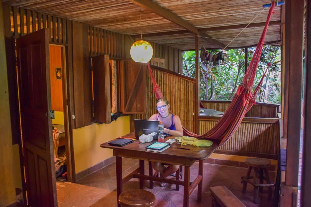 in our hotel in Puerto Viejo, Costa Rica