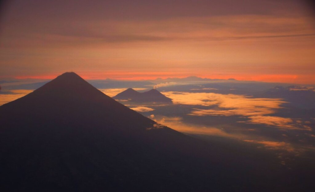 View from the top of Acatenango at sunrise