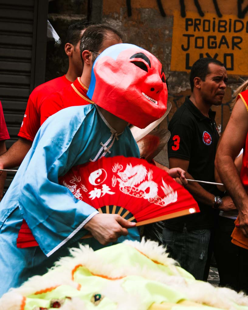 A man dances in Bairro da Liberdade, Sao Paulo
