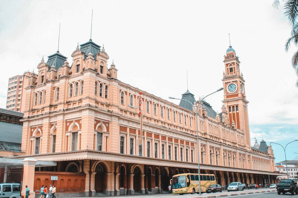 The outside of the Luz Train Station in Sao Paulo