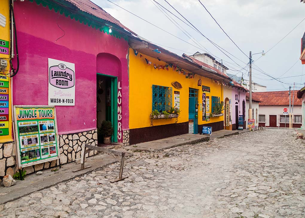 A cute street in Flores, Guatemala