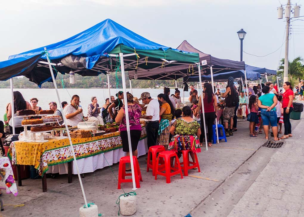 The markets on the malecon in Flores, Guatemala