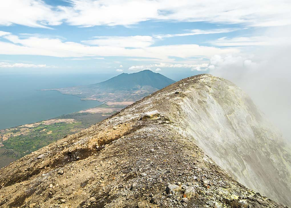 Fumes spill from the top of Concepcion Volcano, Ometepe Nicaragua
