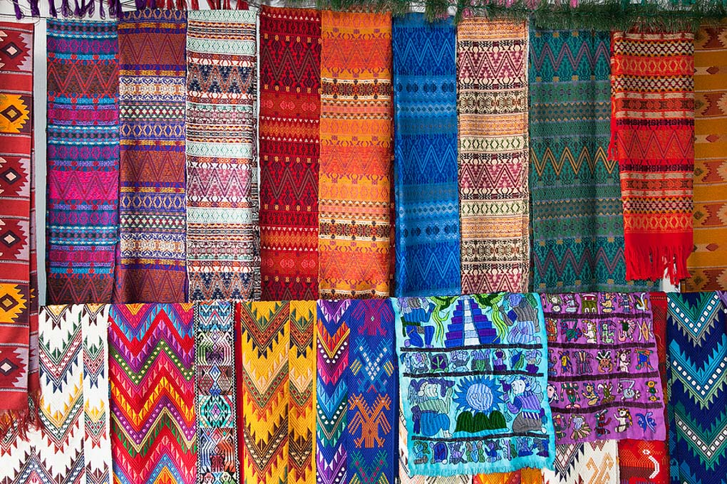 Traditional  colorful fabric at the street market in Flores, Guatemala