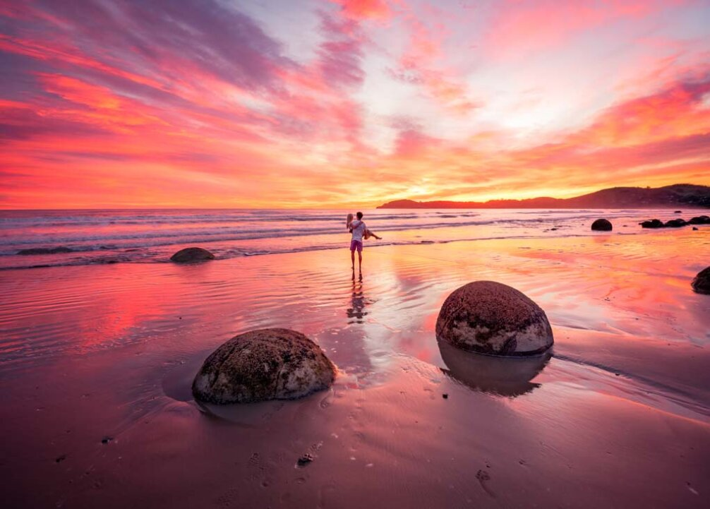 epic sunrise at Moeraki Boulders, New Zealand