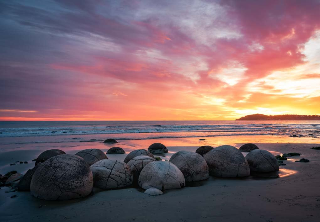 many Moeraki boulders on the beach at sunrise in New Zealand
