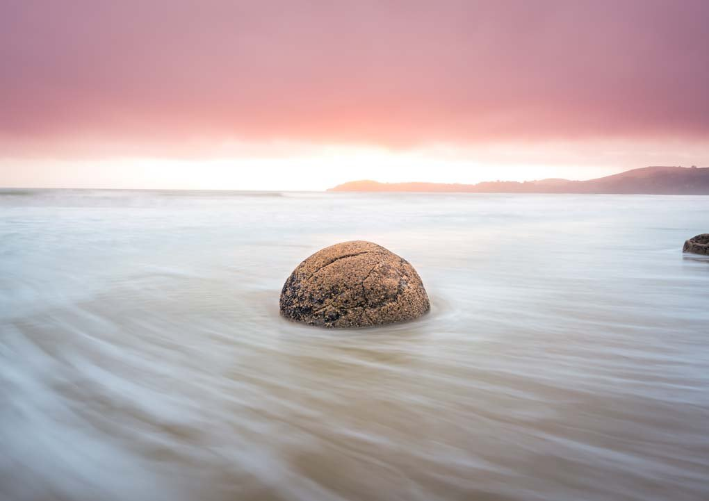slow shutter shot of the Moeraki Boulders, New Zealand