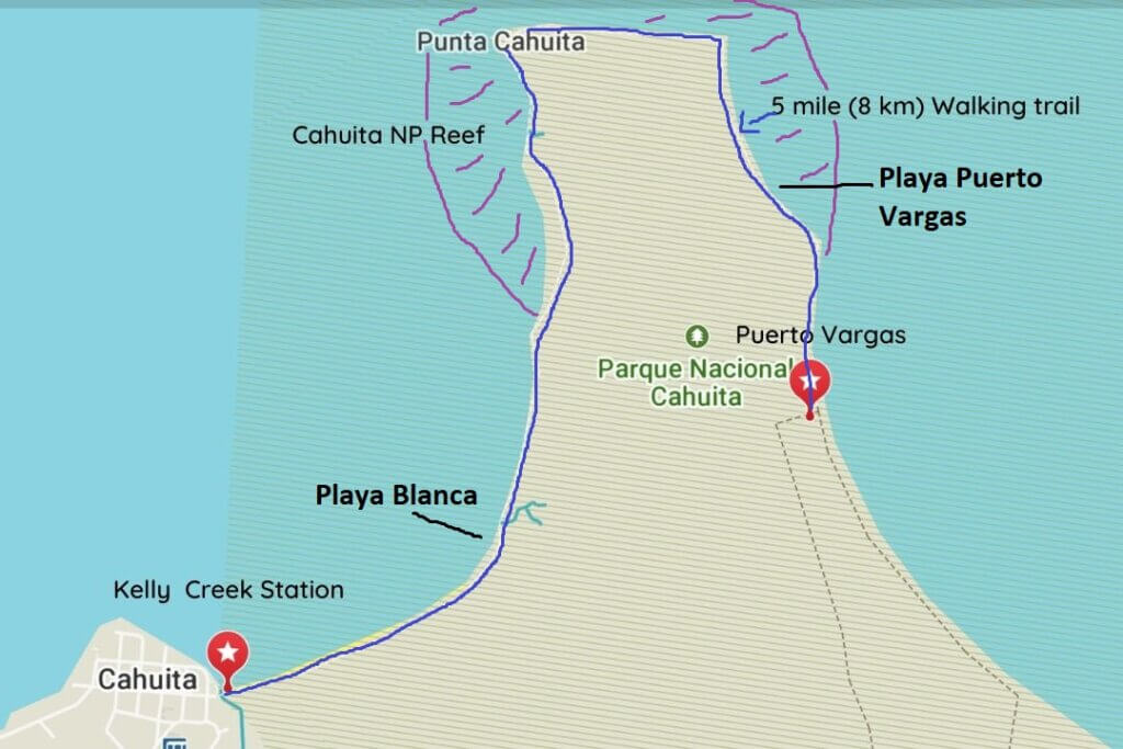 Map of Cahuita National Park showing the two entrance gates