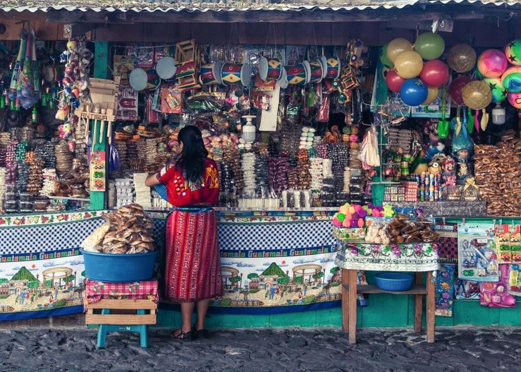 panajachael market stall in Lake Atitlan, Guatemala