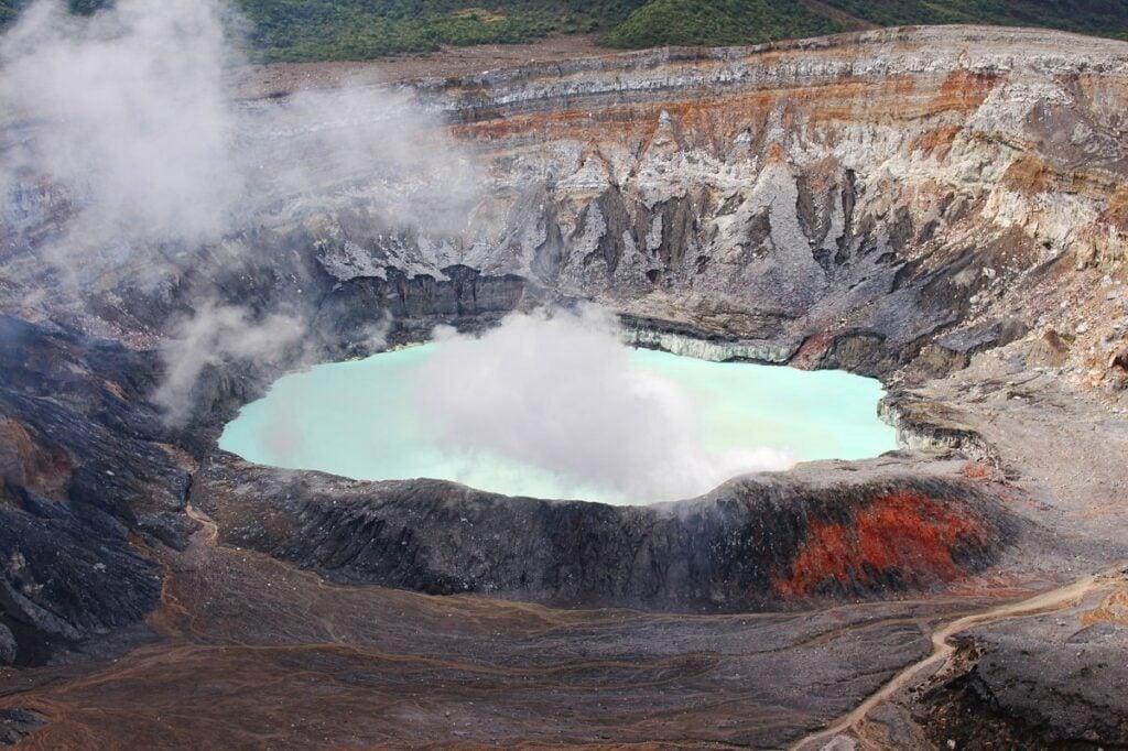 view of Poas Volcano crater lake near San Jose, Costa Rica