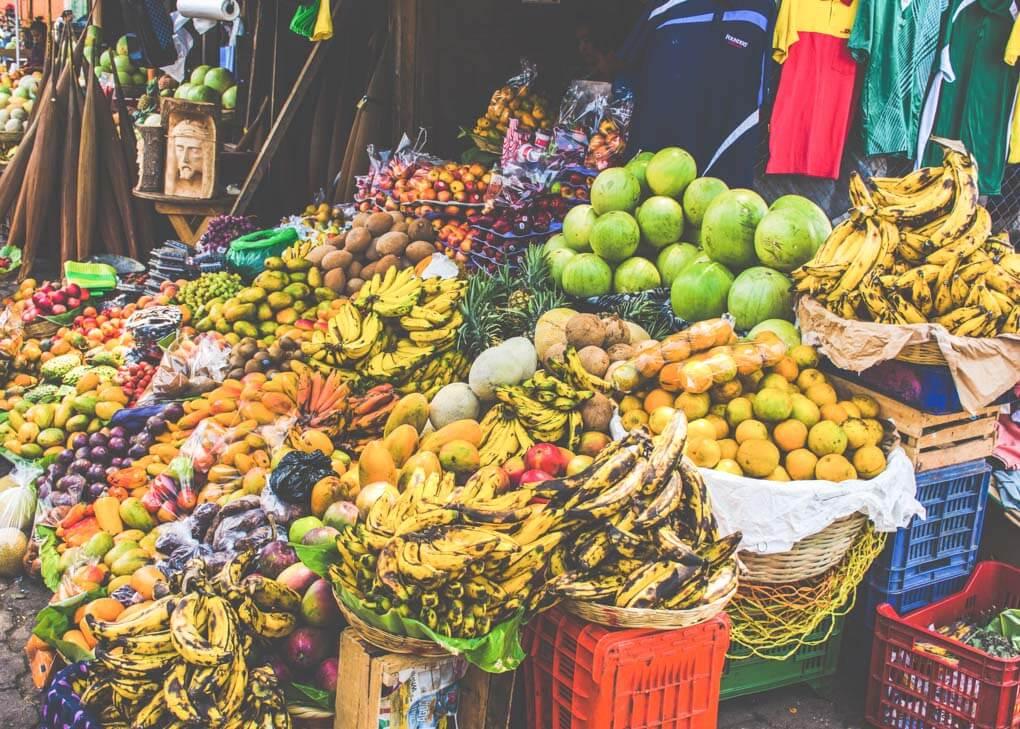 produce market in Lake Atitlan, Guatemala