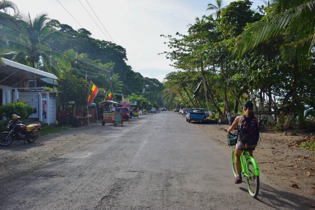 riding a bike in Puerto Viejo, Costa Rica
