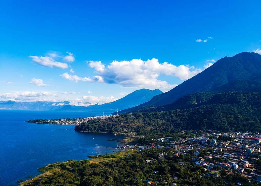 The town of San Juan on Lake Atitlan from above.