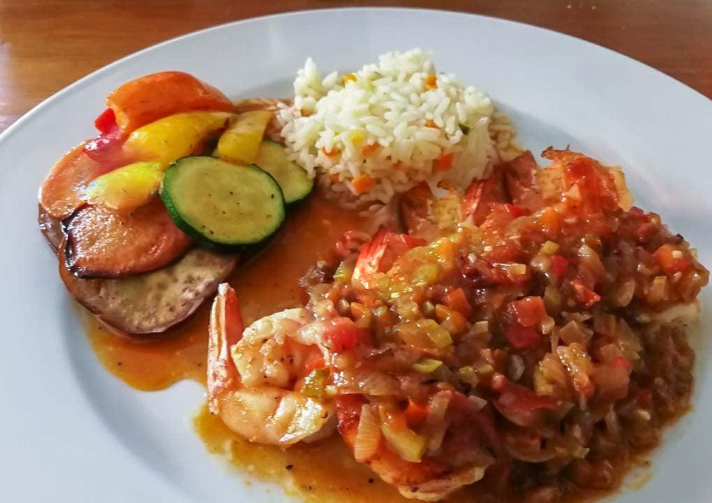 A prawn dish at Achiote, Flores