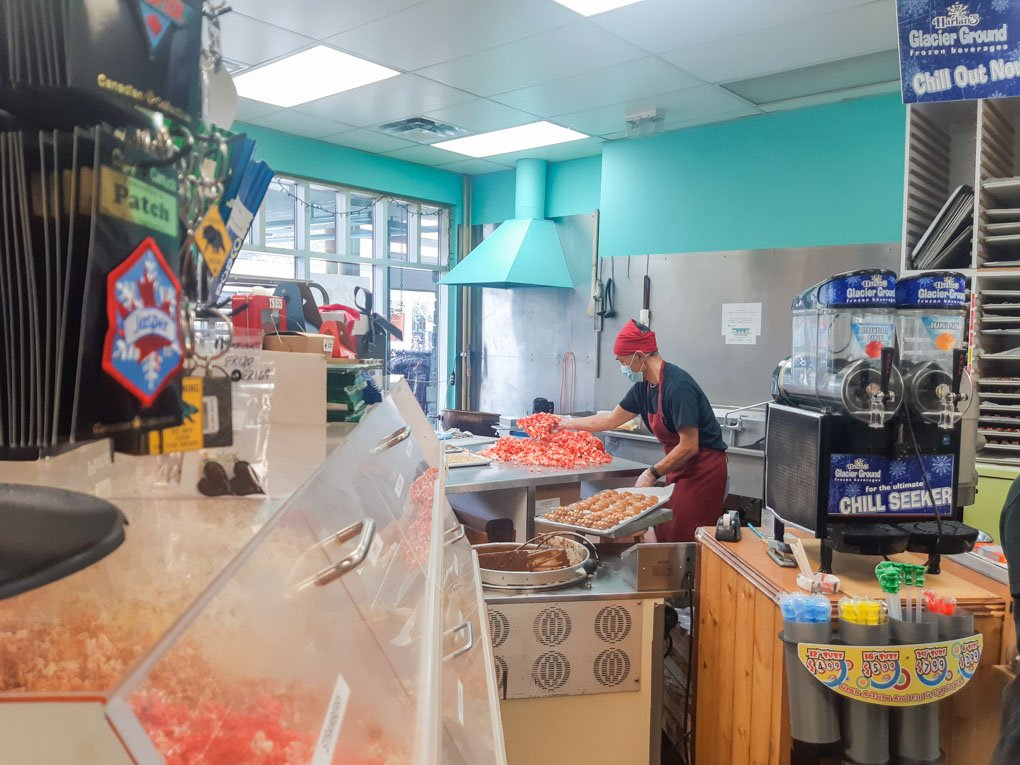 A man makes candy at the Candy Bear Lair in Jasper