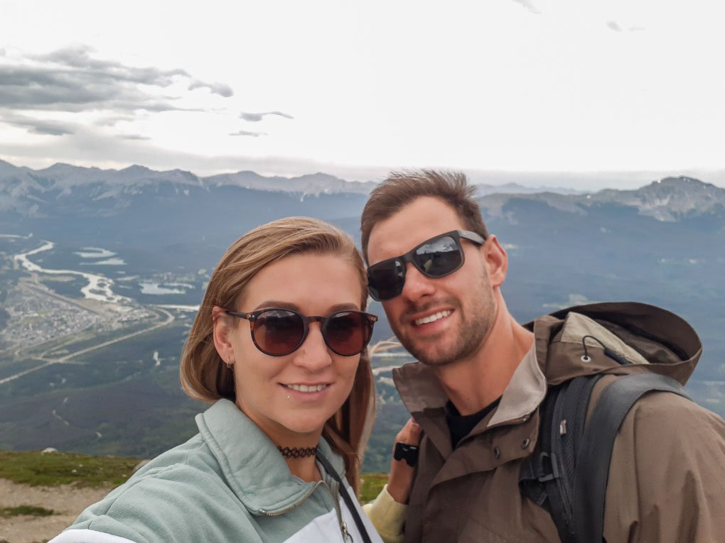 Bailey and Daniel take a selfie at the top of the Sky Tram in Jasper