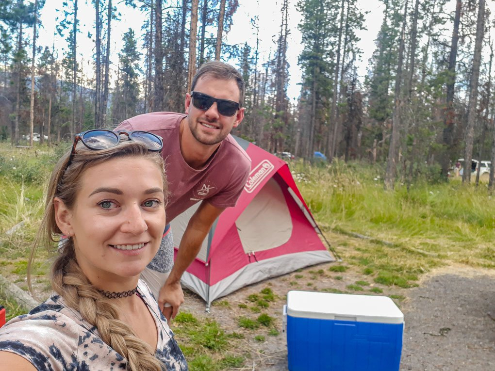 Bailey and Daniel take a selfie at their campsite in Jasper National Park after driving the Icefields parkway!