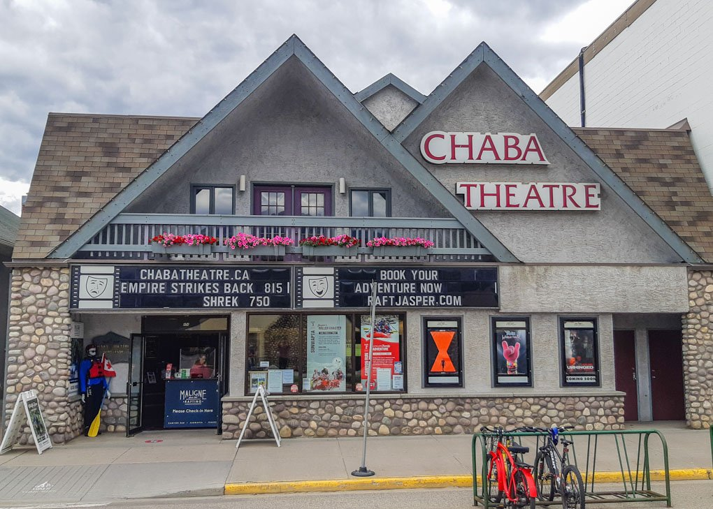 The outside of the Chaba Theater in jasper