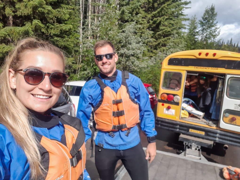 Bailey and Daniel take a selfie after white water rafting in Jasper, Canada