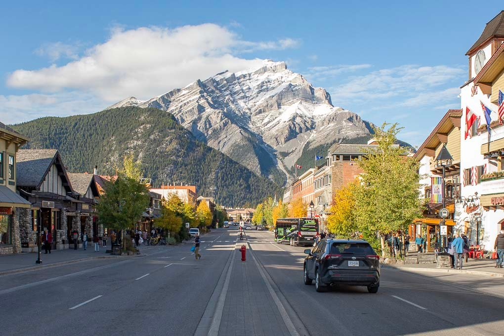 The main street at Banff Town on a sunny day