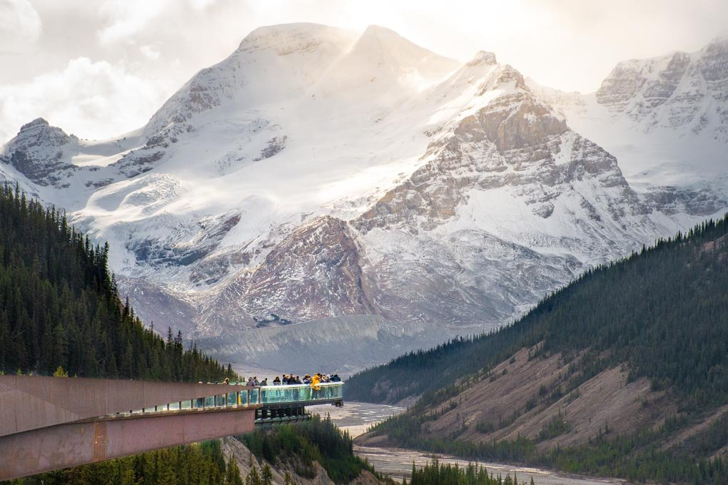 The Skywalk at the Athabasca Glacier showing the platform and the mountains in the background
