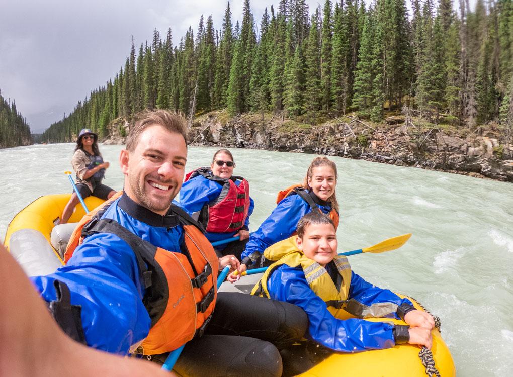 Selfie while white water rafting in Jasper