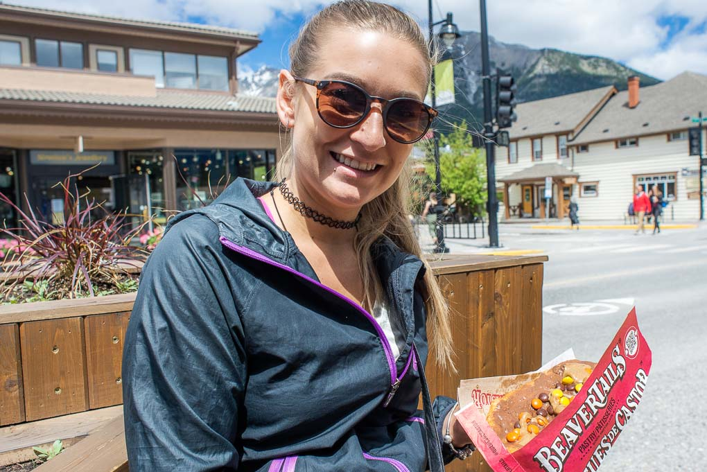 Bailey about to eat a beaver tail in Canmore