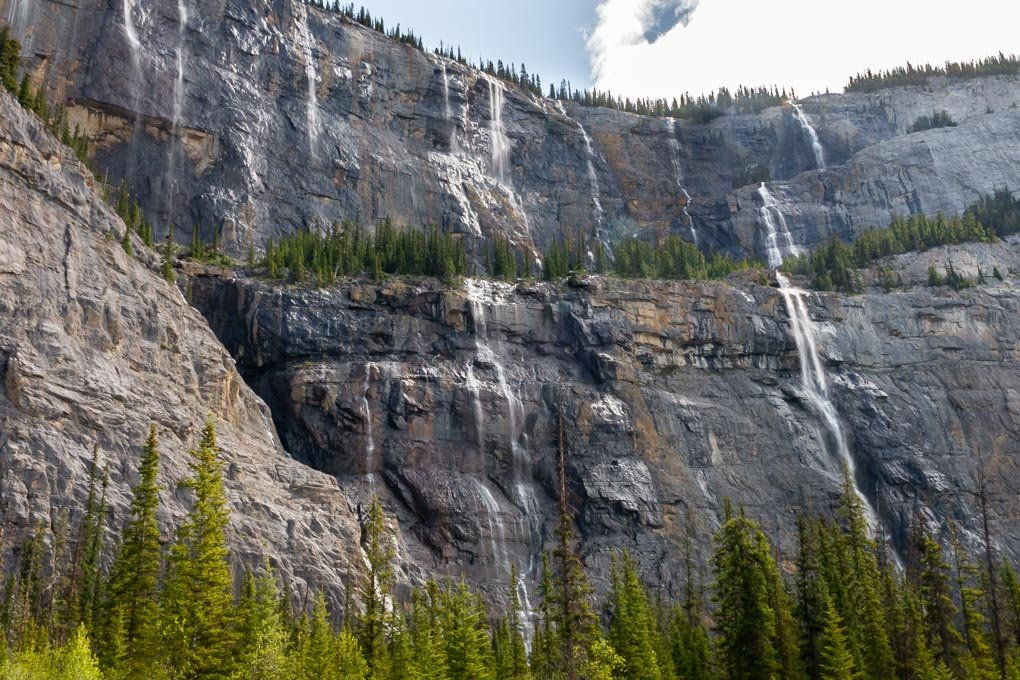 The Weeping Wall on the Icefields Parkway scenic drive between Banff and Jasper National Park