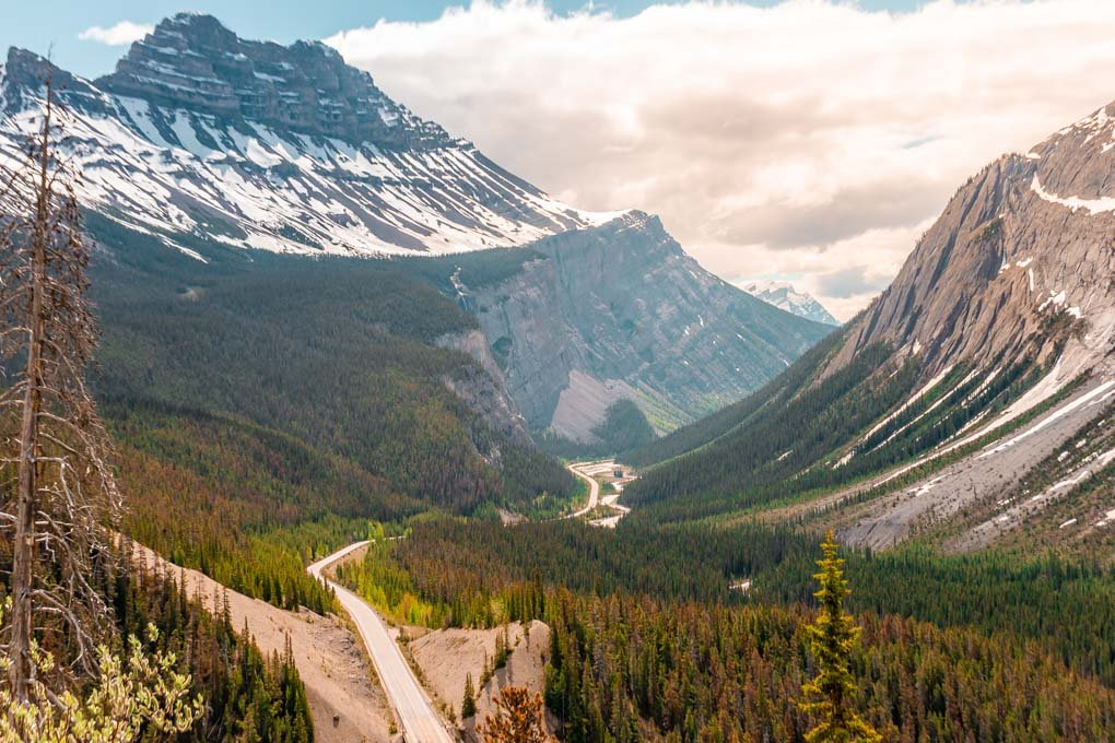 Views along the Icefields Parkway between Jasper and Lake Louise in Canada