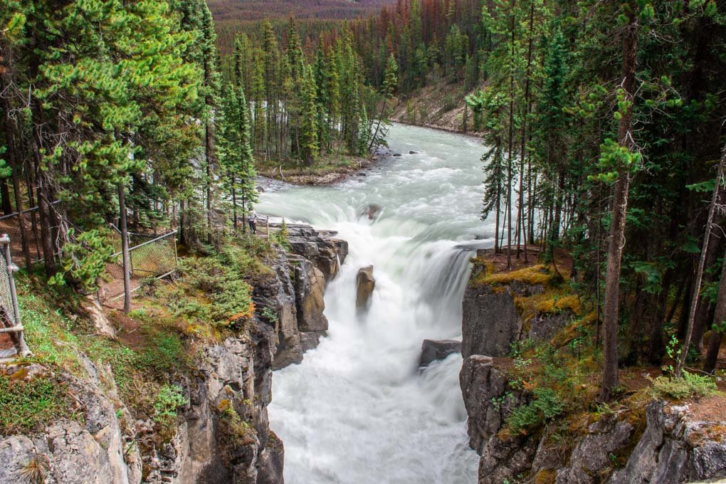 Sunwapta Falls on the Icefields Parkway in Jasper National park
